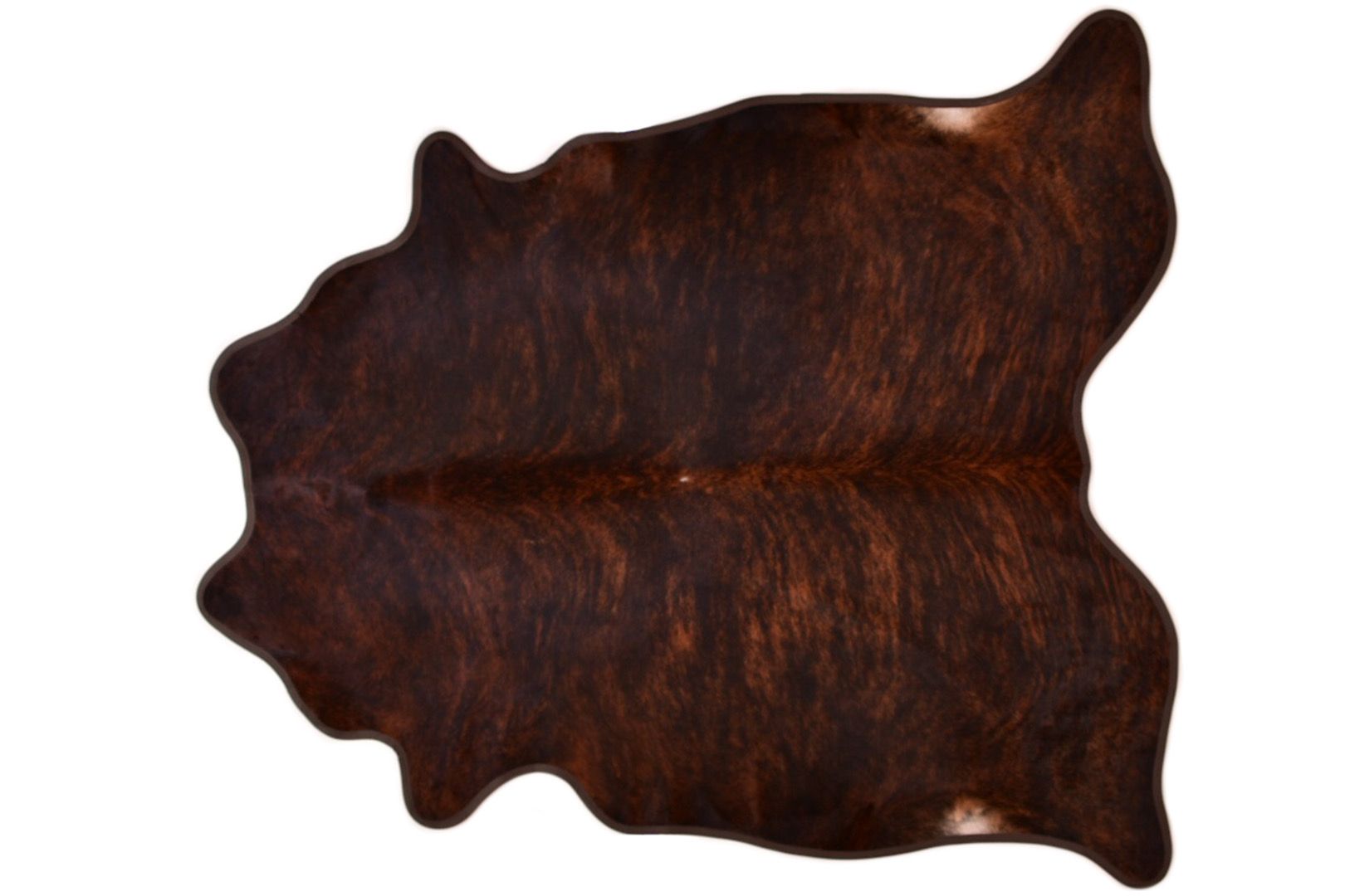 Cowhide Rug Dark Brindle With Coffee Leather Trim Xl 41 Sqft