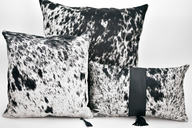 Cowhide 3 Panel Black White Pillow 12 X 20